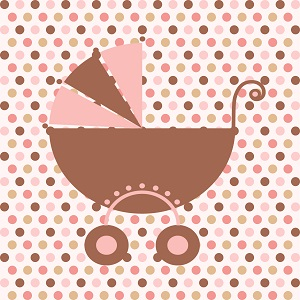 Square (for 9 inch plate) Cling Baby Girl Carriage
