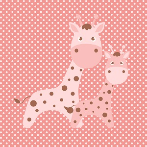 Square (for 9 inch plate) Cling Baby Girl Giraffe